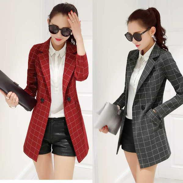 Western-style Women's Autumn Suit New Ladies Casual Small Suit Korean Slim Trench Coat Women's Long Sleeve Jacket Full Blazer