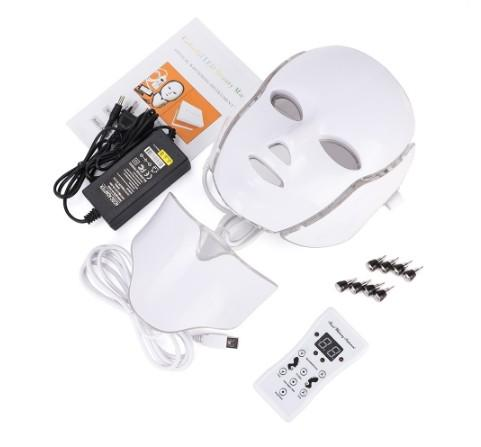 New 7 color light led facial ma k with neck kin rejuvenation face care treatment beauty in trument