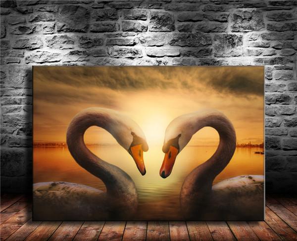 Swans Birds Symbol of Love,Home Decor HD Printed Modern Art Painting on Canvas (Unframed/Framed)