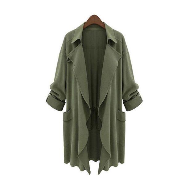 5xl Plus Size Women Trench Coat Winter Loose Casual Basic Windbreaker Irregular Solid Thin Harajuku Cardigan Coat Lady Fashion Outwear