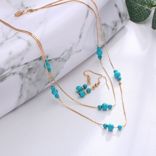 3pcs / lot Vintage bijoux ronde Bohême Gem multicouche Collier Boucles d'oreilles bijoux pour femmes de fille de serpent chaîne d'os