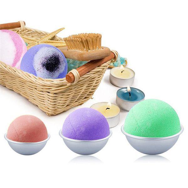 best selling Round Aluminium Alloy Bath Bomb Molds DIY Tool Bath Bomb Salt Ball Homemade Crafting Gifts Semicircle Sphere Metal Mold
