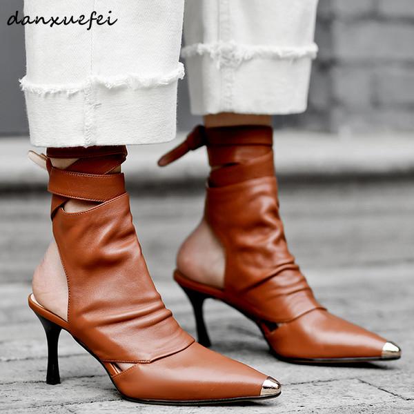 Frauen aus echtem leder high heel frühjahr neue stiefeletten spitz ankle tie herbst kurze booties hochwertige damenschuhe