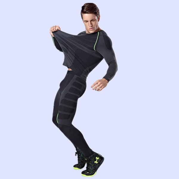 1 Set Men Clothing Winter Outdoors Thermo Thermal Underwear Hot-Dry Technology Surface Warm Elastic Force Long Johns #242830
