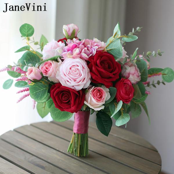 JaneVini 2019 Yeni Moda Pembe Kırmızı Düğün Buketleri Yapay Gelin İpek Güller Nedime Holding Çiçekler Ramos De Flores Damas De Onur
