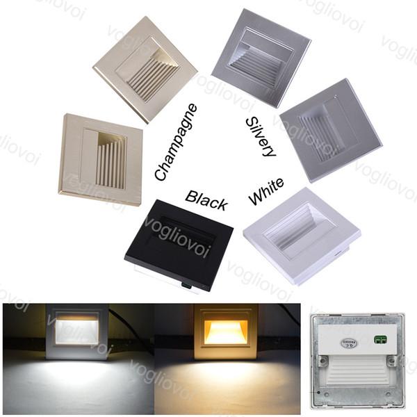 Lampada da terra a LED a terra 1.5W 86mm Lampada da parete a LED da incasso a parete per facciate con gradino per scale Lampade da notte per interni IP20 Lampada ad angolo con scala integrata ABS ABS