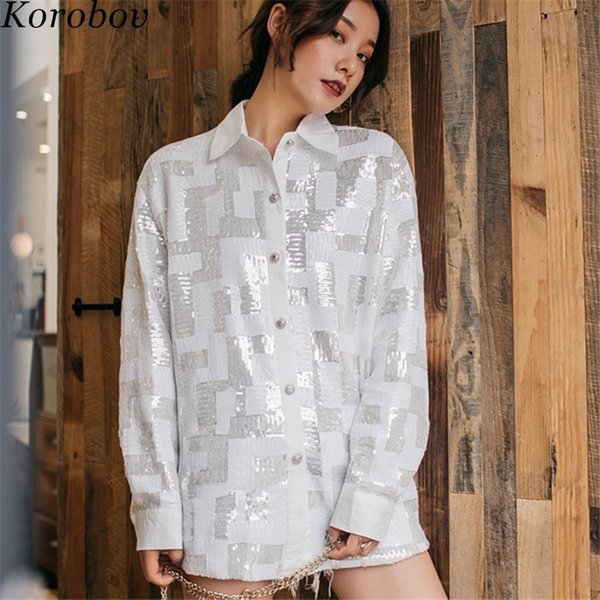 Korobov 2019 Spring Auttum Streetwear Shirts Sequined Patchwork Korean Blouse Turn-down Collor Vintage Casual Blusas 76635
