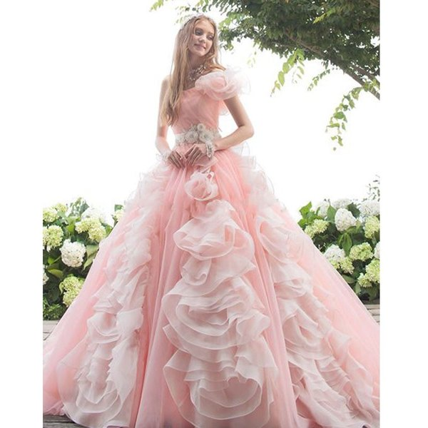 Amazing Blush Pink Hand Made Flowers Quinceanera Dresses Princess 2019 One Shoulder Crystal Sashes Pleated Corset Back Sweet 16 Dress Robes