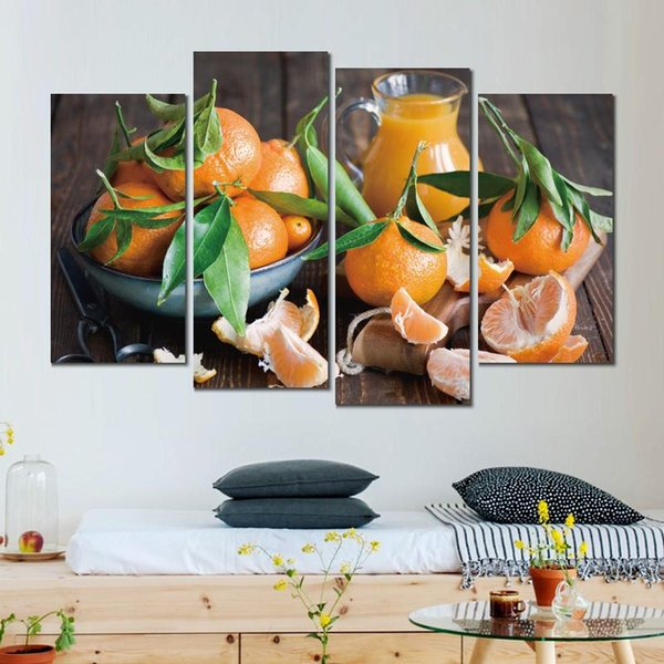 4 sets tangerines fruit citrus fruit canvas print arts pictures for dining room decor