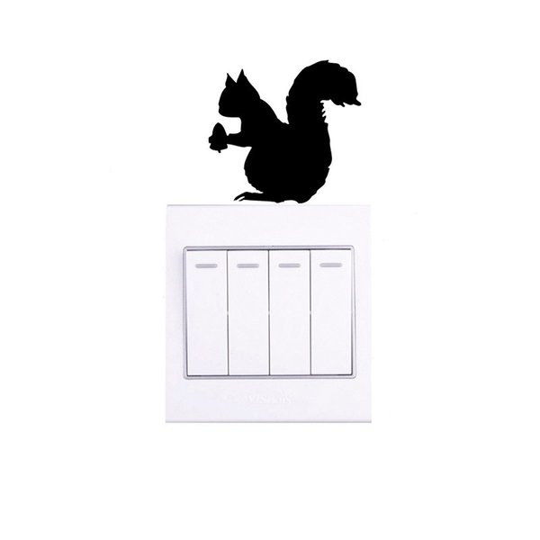 Cute Squirrel Hold A Pinecone Styling Vinyl Switch Sticker Funny Wall Stickers For Kids Rooms