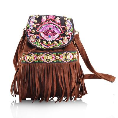 New National Embroidery Tassel backpacks!Fashion Bohemian Floral Embroidered Women Hasp Backrack All-match Embossing Backruck