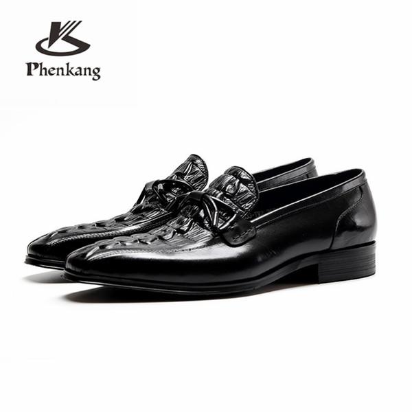 Genuíno de couro de vaca brogue casamento banquete de Negócios mens flats casuais sapatos sapatos oxford vintage para homens preto borgonha 2019