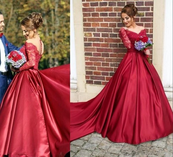 Arabic Fancy New A-line Prom Dresses 2019 Sheer Crew Neck Lace Appliques Bodice Button Back Long Sleeves Vestidos De Fiesta Evening Gowns