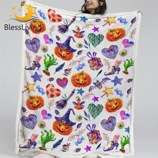 BlessLiving Happy Halloween Sherpa Blanket Cartoon Kids Bedding Broom Pumpkin Bed Blanket Hat Candy Bat Colorful Mantas De Cama