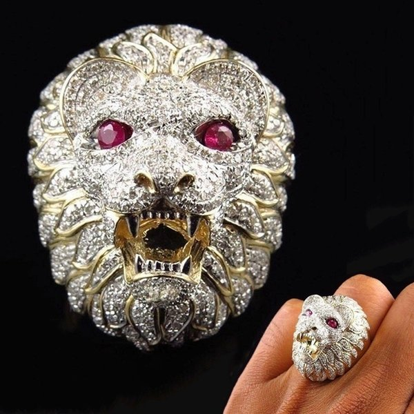 Gold Color Lion Head Vintage Ring For Men Ferocious Golden Lion Finger Ring Biker Gothic Knight Punk Male Jewelry Gifts