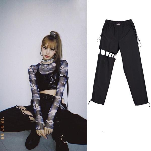 2019 nuova BLACKPINK LISA stesso alti pantaloni a vita di estate delle donne Streetwear Pantaloni coreano fan di sesso femminile Pantaloni sportivi sexy