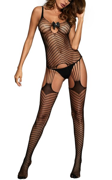 best selling Women Bowknot Applique Hollow-out Chevron Print Bodystocking Sexy Shoulder Strap Open Crotch Backless Underwear Teddy Lingerie Jumpsuit