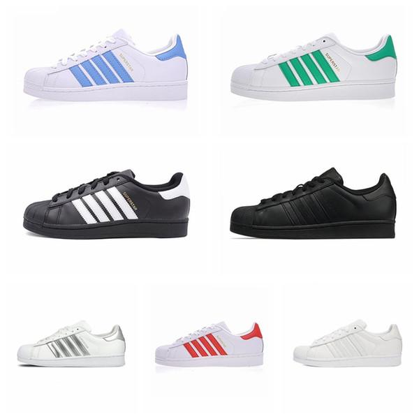 Adidas Original Superstar Superstars Shoes 2019 Дешевые Новые Черное Белое Золото Голограмма Junior Originals Superstars 80-х Гордость Кроссовки Super Star Женщины Мужчины Обувь