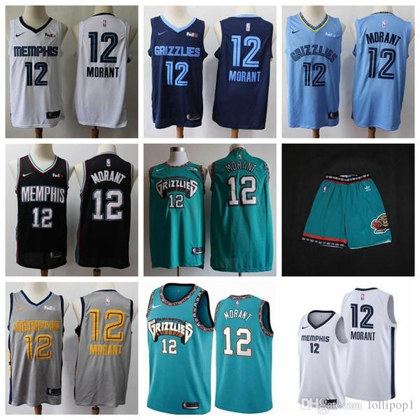 top popular 2019 2020 New Memphiss jersey grizzliess 12 Ja Morant short Embroidery Logos Basketball Jerseys bule S-XXXL 2019