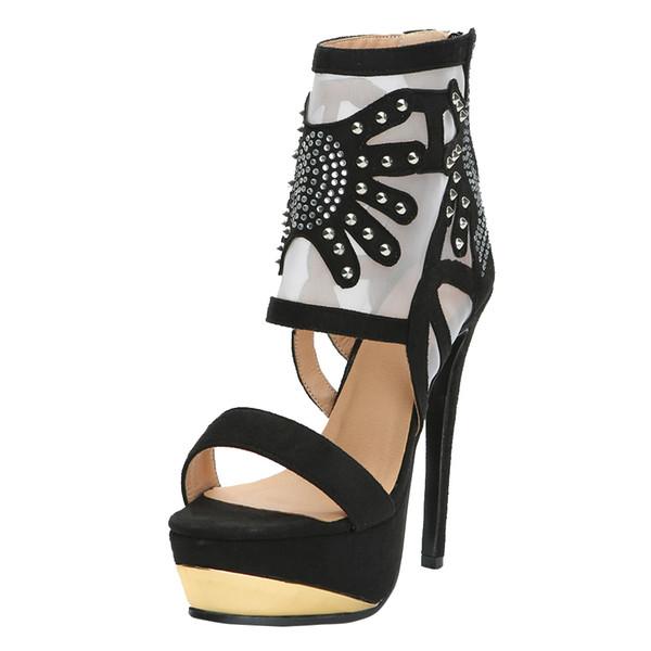 Zandina Ladies Handmade Sandalias de tacón alto AIR-mesh Plataforma Zapatos de oficina Sexy Party Office Fashion Court Shoes N016