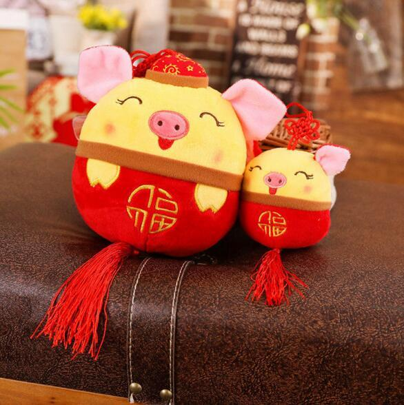 Pig Year Zodiac Mascot Chinese Kung Fu Pig Pendant Festive Doll with Suction Cup Plush Toy Creative Fashion Home Decor