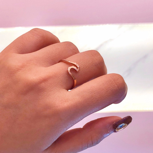 Wave Alloy Silver Rings Charms Rose Gold Ring Wedding Rings For Women Fashion Jewelry Bague Femme Anillos Mujer