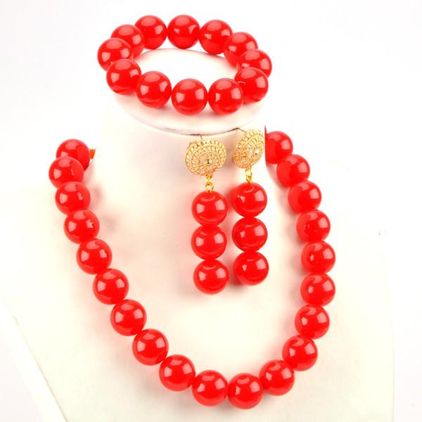 Moderno Estilo Africano Conjunto de Joyas de Compromiso Color Rojo Mujeres Collar de Perlas de Cristal Aretes Pulsera Set para Amantes 1C-BLZ-06