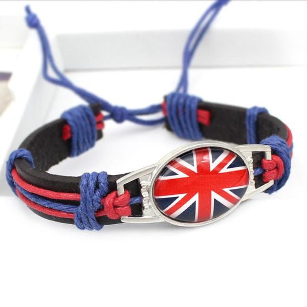 Bretaña Corea Dinamarca Grecia otras banderas de piel Nacional pulsera pulseras de vidrio cabujón joyas para hombres mujeres al por mayor