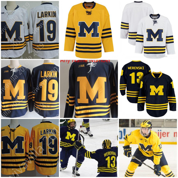 quality design 977d1 04d96 Compre Jersey NCAA Michigan Wolverines Colleage Personalizado # 19 LARKIN #  13 Zach Werenski Jerseys De Hockey Michigan Wolverines Cosidos S 3XL A ...