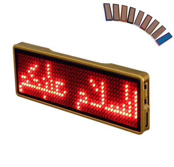 Distintivo di nome led blu programmabile USB Tag di nome LED Distintivo digitale display digitale Segni LED a scorrimento