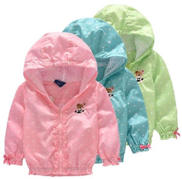 Children Jacket Coat For Girls Double-deck Waterproof Windbreaker Polka Dot Baby Girls Outerwear Coats 2-8 Years Kids Clothes