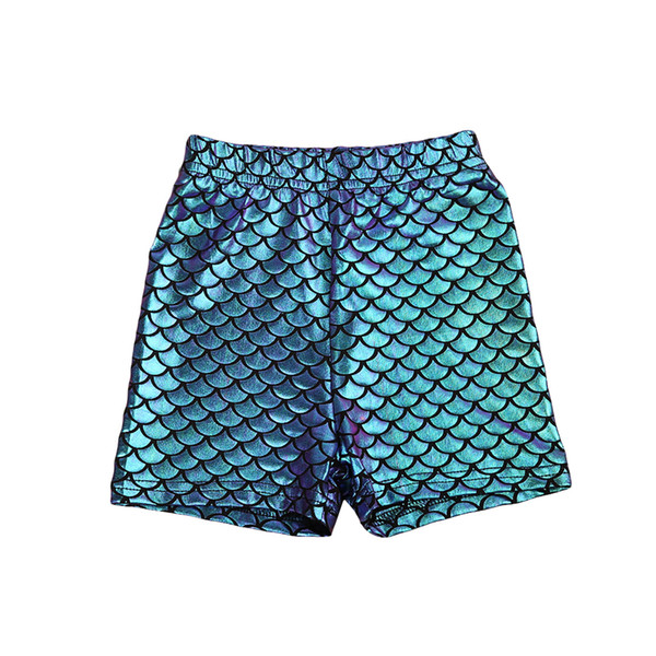 top popular Kids Infant Baby Girl Toddler Skinny Mermaid Fish Scale Stretchy Short Pants 2021