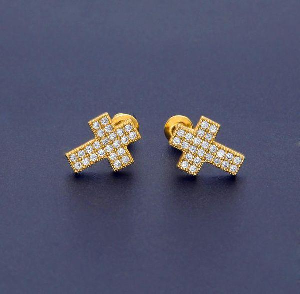 Aretes de circonio de lujo Oro para hombre Marca Hiphop Joyería Moda Cruz Perforado Ear Stud Full Diamond Ice Out Hip Hop Tripulación Pendientes Anillos
