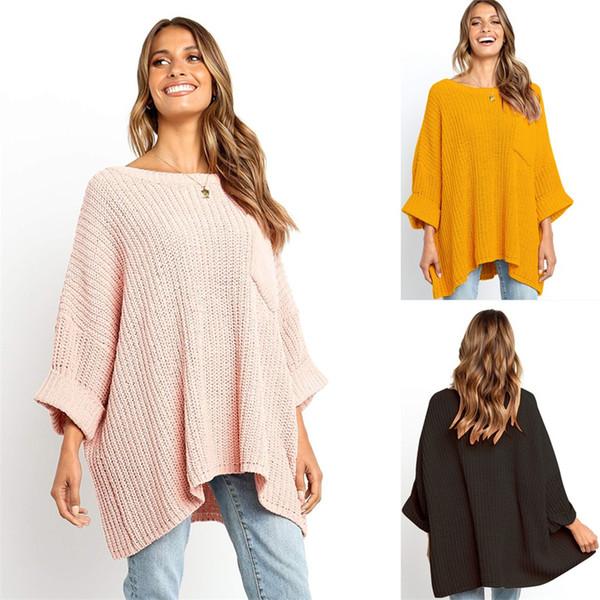 Мода Твердые Простые Женщины Свитер Осень Зима Повседневная Свободный Пуловер Knitt С Длинным Рукавом О-Образным Вырезом Карманный Свитер Блузка