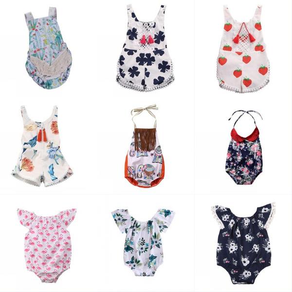 Bebek Kız Çiçek Romper Sinek Kol Püskül Tulum Bir Adet Giysi Toddler Bebek Kız Fil Püskül Romper Kıyafetler Onesies