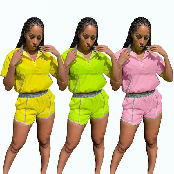 Plus Size 2 Zweiteiliger Trainingsanzug Set Frauen Sportwear Casual Kurzarm Patchwork Tops Shorts Anzug Outfits Spielanzug