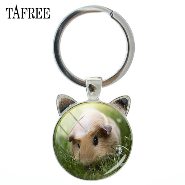 TAFREE Marke Neuheit Meerschweinchen Keychain Silber Farbe Handgemachte Schlüsselanhänger Für Autoschlüssel Mode Schlüsselanhänger Handtaschen Schmuck QF831