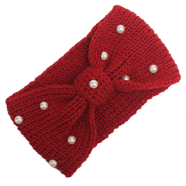 2018 Europe and America autumn and winter new women's wool warm knitted hair band pearl bow hood headband hair accessories