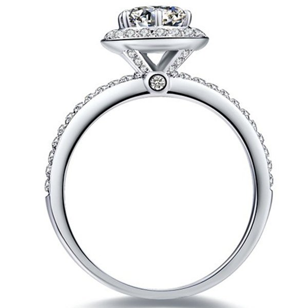 6.5mm Excellent Hearts and Arrows 1CT SONA Diamond Ring for Women Engagement Halo Style Jewelry Sterling Silver in 18K White Gold Plated