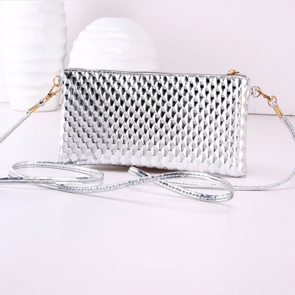 Cheap Shining Small Shoulder Bag For Women Fish Scale Leather Mini Crossbody Bags Brand Designer Envelope Evening Bolsa Flap Purses
