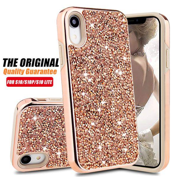 Premium bling 2 em 1 luxo diamante strass glitter phone case para iphone xr xs max x 8 7 6 samsung nota 9