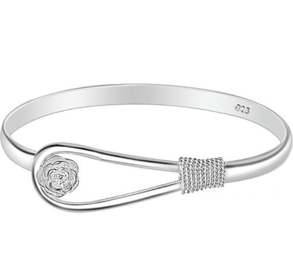 Women Rose Flower Bracelet 925 Silver plated cuff Bracelets Fashion girl Bangles Ladies Lady Bangle Gifts cheap Jewelry Wholesale