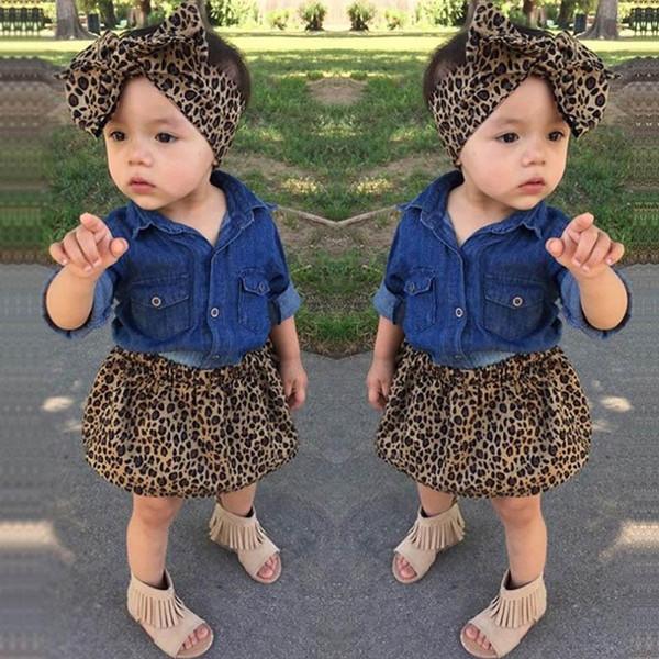Ins leopard Girls Outfits baby girl suit 3pcs/set denim shirt+Skirt+bows headband Kids Sets girls Dress Suits kids designer clothes