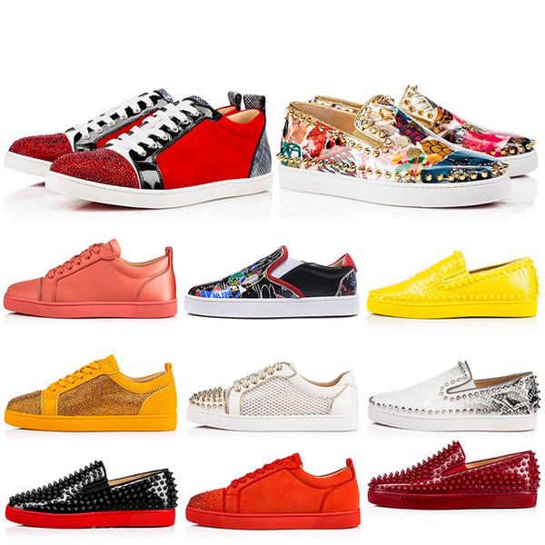 Дизайнерские туфли на плоской подошве с красной подошвой Мужские женские туфли с низким вырезом из повседневной обуви Спортивные кроссовки кроссовки 35-47 БОЛЬШОЙ размер с КОРОБКОЙ