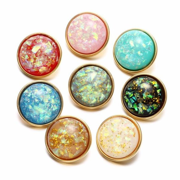 NOOSA Gold Snap Jewelry 18mm Resin Shell Colourful Snap Buttons fit DIY snap button bracelet Necklace Jewelry Christmas Gift