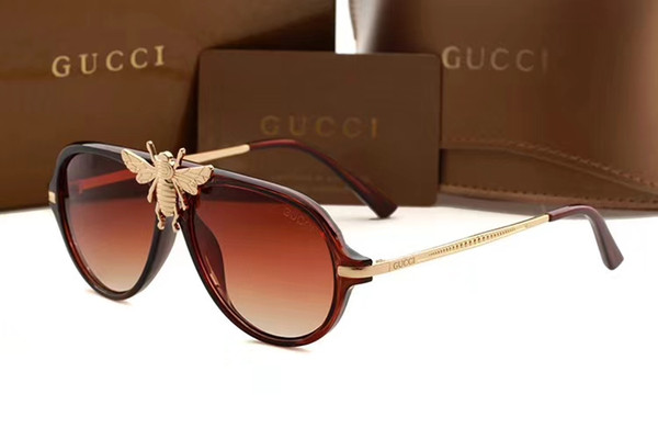 top popular New fashion Sunglasses with LOGO For Men Women Metal Frame Polarized Mens glasses bee sunglasses Driving Sun Glasses GG1885 2019