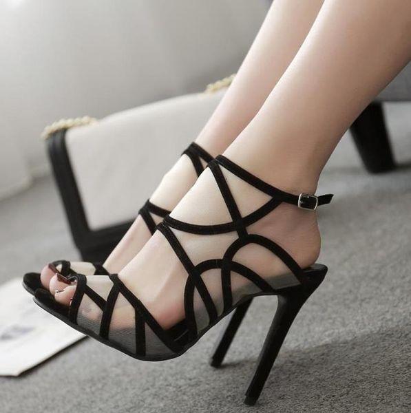 New black breathable meshy high heels sandals designer luxury women slides size 34 To 40