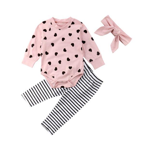 Newborn Baby Girl Outfits Set Cotton Love Heart Romper Jumpsuit +Striped Leggings Headband Y18120303