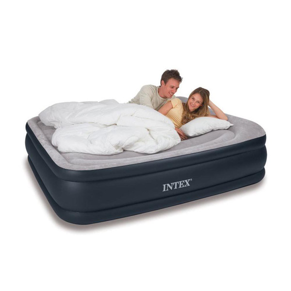 Intex deluxe rai ed pillow re t air mattre bed with built in air pump queen