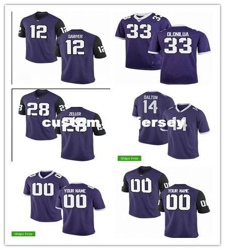 custom #14 Patrick zeller #33 Sewo Olonilua TCU Horned Frogs Football Jersey Sewing custom any number name football jerseys XS-5XL